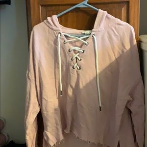 Forever 21 light pink cropped hoodie